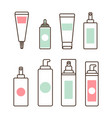 plastic tubes and bottles with skincare means set vector image