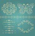 set of floral border frame dividers vector image