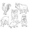 bull cock dog monkey pig rat vector image