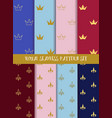 Royal seamless pattern set Crowns and lily vector image
