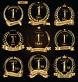 anniversary golden retro laurel wreath vector image vector image