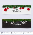 banners with fir tree border and toy balls vector image vector image
