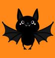 bat flying cute cartoon bacharacter with big vector image vector image