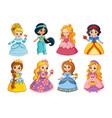 beautiful set with cartoon princesses vector image