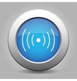 blue metal button with sound or vibration vector image vector image