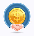 business people handshake around dollar gold coins vector image vector image
