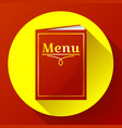 cafe restaurant red menu book icon in flat style vector image