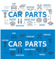 car parts vehicle repairing line art promo poster vector image