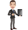 cartoon happy young businessman holding a tablet vector image vector image