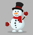 cheerful snowman in a hat and scarf waving vector image