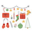 christmas set decoration stickers new years vector image