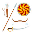color image a cossack combat items on a white vector image vector image
