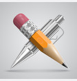 colorful realistic pen and pencil vector image vector image