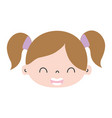 colorful smile girl head with two tails hair vector image vector image