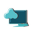 computer monitor with cloud computing vector image vector image