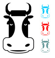Cow icon flat style Head farm animal stencil Cute vector image vector image