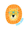 cute lion face and slogan hand drawing vector image vector image