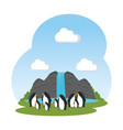 cute penguins birds in the landscape characters vector image vector image