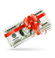 Dollar Bills with Ribbon and Bow vector image vector image