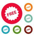 free sign icons circle set vector image vector image