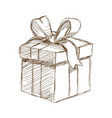 giff box with bow at black and white engraving vector image vector image