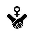 girl power black glyph icon vector image