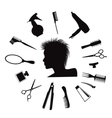 Hairdressing equipment icons vector image vector image