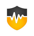 heart beat pulse shield security icon medical vector image vector image