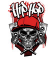 hip hop t shirt design with skull wearing cap vector image vector image