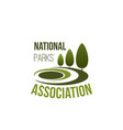 icon for national parks association vector image vector image