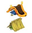 inflatable boat oars and shelter of straw vector image vector image