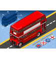Isometric Double Decker Bus in Front View vector image vector image