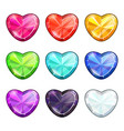 love symbols set cartoon crystal hearts vector image