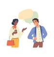 man woman multiethnic people talking speech bubble vector image vector image
