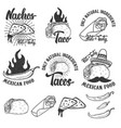 mexican food nachos burrito taco design elements vector image