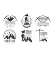 mountain rock climbing retro logo set climbing vector image vector image