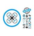 Nanocopter Flat Icon with Bonus vector image vector image
