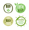 natural products logo stickers organic fresh food vector image vector image