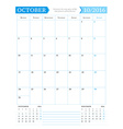October 2016 Monthly Calendar Planner for 2016 vector image