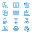 online education flat line icons editable strokes vector image vector image