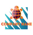orange and purple turtle in front blue and vector image vector image