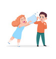 pillow fight cheerful girl beats displeased boy vector image vector image