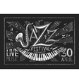 Poster of Jazz festival on the chalkboard vector image vector image