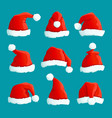 santa red hats christmas funny caps santa vector image