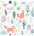 seamless forest pattern with fox owl plants vector image vector image