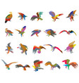 set colorful mosaic american eagle silhouettes vector image