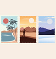 set landscapes flat scenes vector image vector image