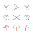 set of thin line wifi signal icon vector image vector image