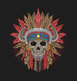 skull apache head chief horn tribe colorful vector image
