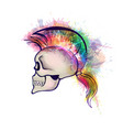 skull with mohawk hair style made colorful vector image vector image